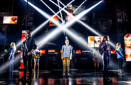 Broadway cast featuring Taylor Trensch during Waving Through a Window promotional still