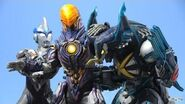 Greeza vs Ultraman X and Cyber Gomora