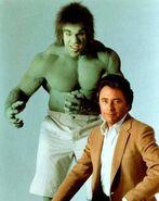 Bill Bixby as David Banner and Lou Ferrigno as The Incredible Hulk