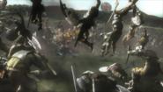 Soul Calibur - Nightmare sweeping away an army as seen in Soul Calibur 2
