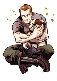 Chuck and his adorbs bulldog
