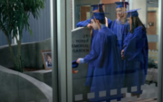 This is the first version of the J.T. Yorke Memorial Zen Garden and the first instance we see it. J.T.'s classmates place a graduation cap on the cement near a framed picture of him and move his tassel, symbolizing he's moving on from Degrassi with them.