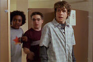 J.T., Toby and Danny exit the bathroom stall