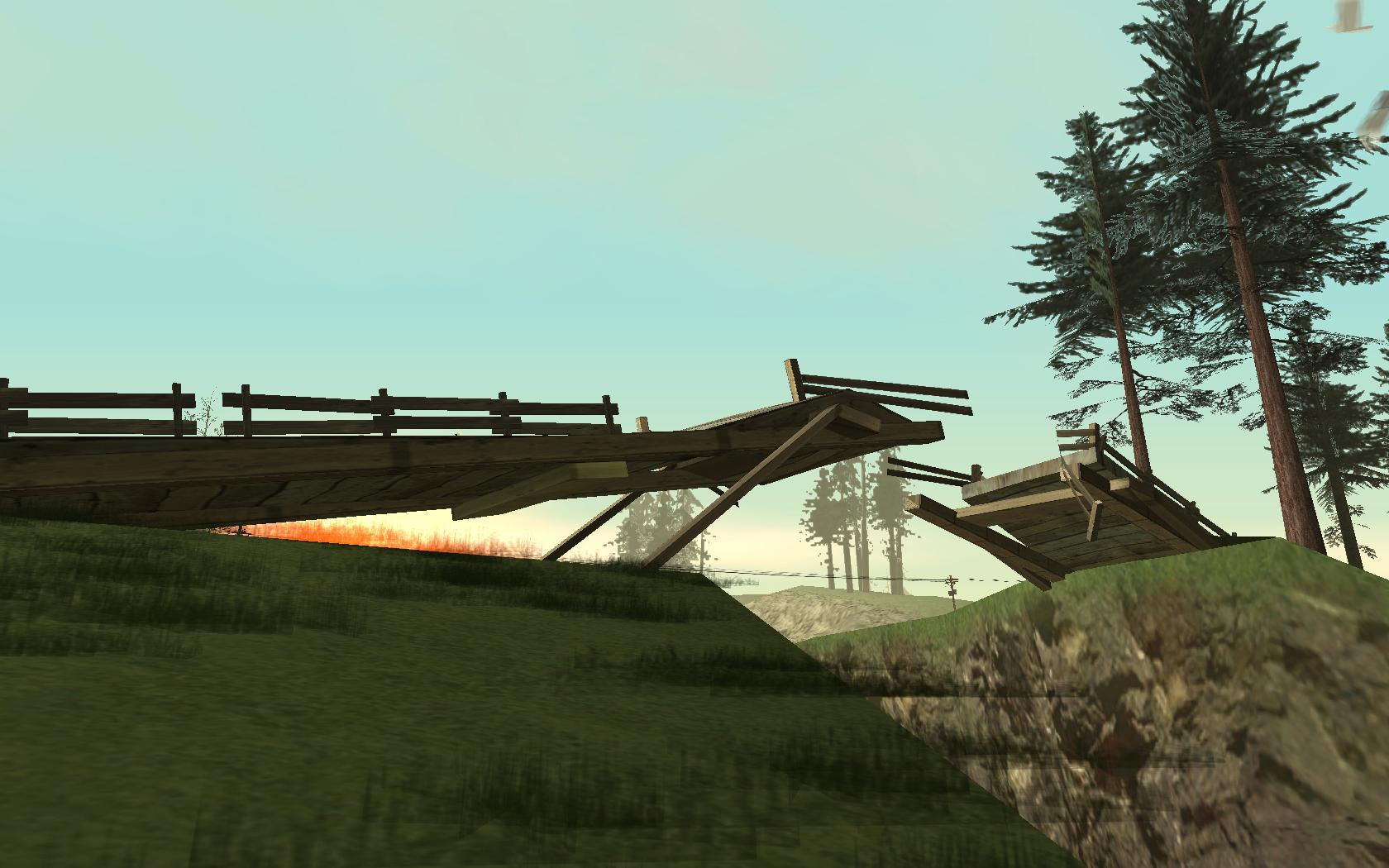 Zerstörte Holzbrücke