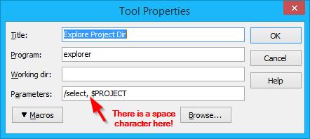Add a Explore Project Dir tools entry