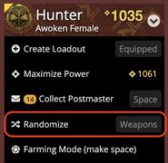 Screenshot of Randomize feature