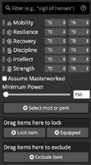 Loadout Optimizer filter bar