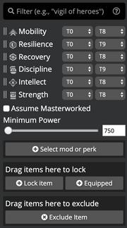 Loadout Optimizer filter bar.png