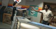 Nathan and Kara pointing guns at eachother