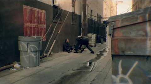 Man beaten with own leg in back alley