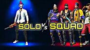 SOLO VS SQUAD FREE FIRE -- 1 V 4 FREE FIRE -- Free fire -Hindi + English-