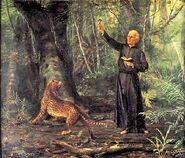Benedito Calixto - Evangelho nas Selvas, 1893 (ost, 58,5 x 70 cm - Padre Anchieta)