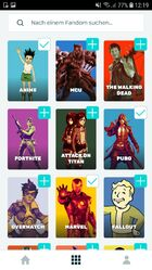 Android FANDOM-App - Themenauswahl