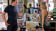 Dexter talks to Laci, a cashier