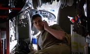 A.J. in van receives call