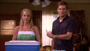 Dexter blurts out they're having baby S3E4