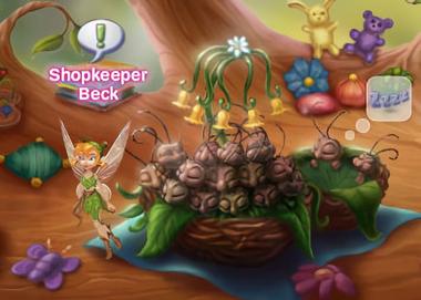 Beck inside of the Animal Nursery, standing beside a stack of sleeping fireflies
