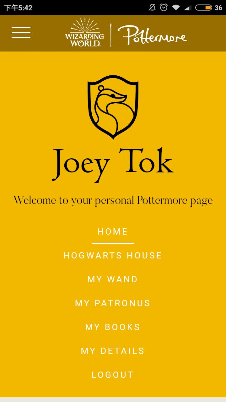 Pottermore page