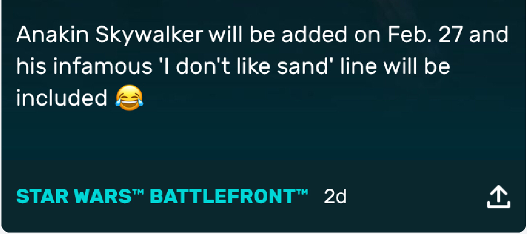 Has anyone realized that Anikan will not like sand in battlefront also? Will be the new best emote.