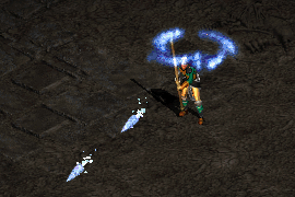 a sorceress wearing studded leather armor and casting Ice Bolts in quick succession