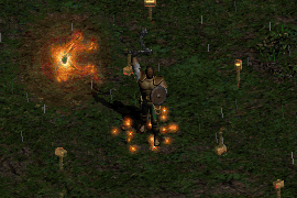 a flail-wielding paladin with an Oak Sage quickly casting Blessed Hammers