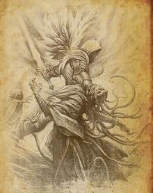 Бой Тираэля с принцем Айданов в гробнице Тал Раши.PNG