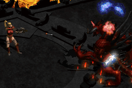 an amazon Strafing Diablo with a colossus crossbow, triggering Decrepify and crushing blow