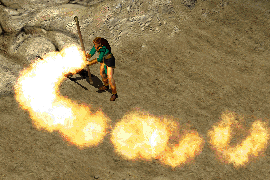 a sorceress wielding a short staff and casting Inferno