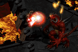 an assassin wearing mage plate, casting Weaken on Diablo after tanking his Red Lightning Hose