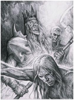 King Leoric and Archbishop Lazarus Executing Peasant by Petar Meseldzija.jpg