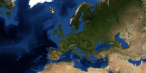 Curved Europe Terrain Map 2019