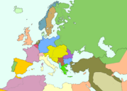 Map of Europe and Middle East 1914