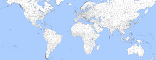 World with regions in white