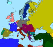 WW1 Colored Map With Capitals