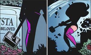 Mysta smashes Moon Maid's gravestone - 9-30-2012