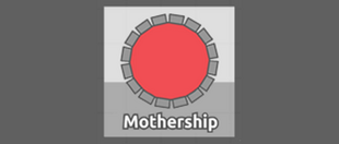 "Image is of a circular red Tank adorned sixteen ridges, with small gaps between each. The Tank is placed on a silver outset background above the word ""Mothership,"" and the background itself is flanked by a grey canvas."