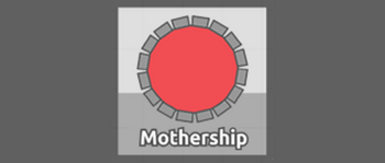 """Image is of a circular red Tank adorned sixteen ridges, with small gaps between each. The Tank is placed on a silver outset background above the word """"Mothership,"""" and the background itself is flanked by a grey canvas."""