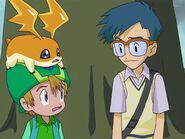Joe, T.K. and Patamon look at each other