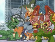 Tuskmon and Snimon are still fighting