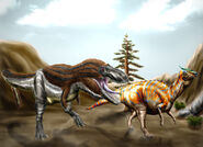 Tarbosaurus and Saurolophus by durbed