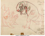 Fantasia Dinosaur Battle Layout Drawing Original Art (Walt Disney, 1940).