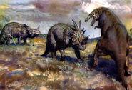Styracosaurus & gorgosaurus by zdenek burian