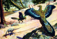 Compsognathus & archaeopteryx by zdenek burian 1955