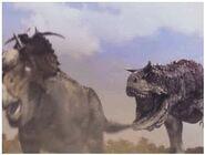 Disney's Dinosaur Pachyrhinosaurus escapes a Carnotaurus