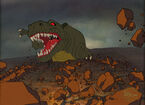 The Land Before Time Sharptooth Production Cel Setup with Background