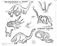 Disney's FANTASIA Production Studio Copy BRONTOSAURUS Model Sheet Guide Page