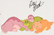 The Land Before Time Littlefoot, Cera, Spike, and Ducky Production Cel