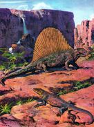 Dimetrodon & varanosaurus by zdenek burian