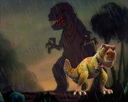 Tiny and the Fantasia tyrannosaurus