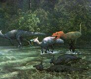 Tarbosaurus and Saurolophus